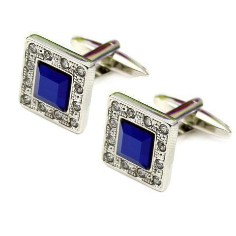 Manžetové knoflíčky modrý krystal s kamínky po okraji - 1