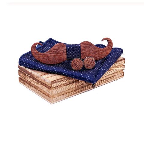 Dřevěné manžetové knoflíčky s motýlkem knírek - 1
