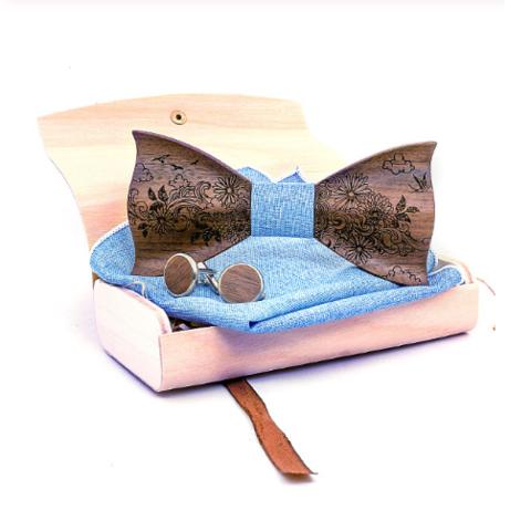 Dřevěné manžetové knoflíčky s motýlkem Amfora - 1