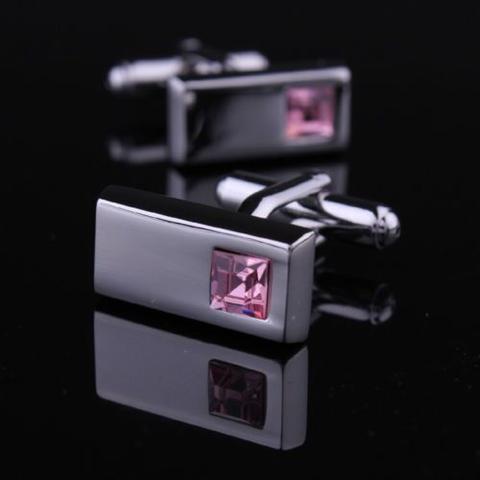Manžetové knoflíčky obdélník růžový kámen - 1