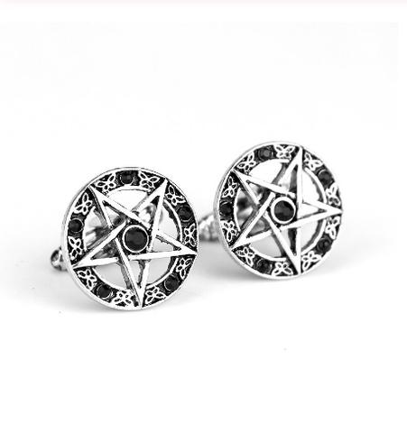 Manžetové knoflíčky pěticípá hvězda pentagram - 1