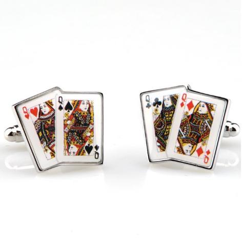 Manžetové knoflíčky poker dámy - 1