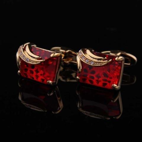Manžetové knoflíčky rubínové barvy gold - 1
