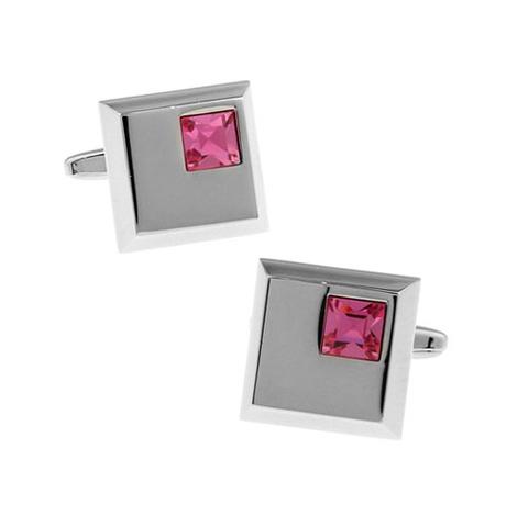 Manžetové knoflíčky světle růžový krystal - 1