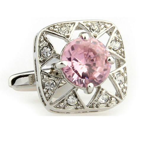 Manžetové knoflíčky růžový kamínek - 1