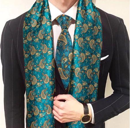 Manžetové knoflíčky s kravatou a šálou - 1