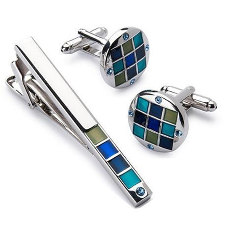 Manžetové knoflíčky se sponou na kravatu modrá mozaika - 1
