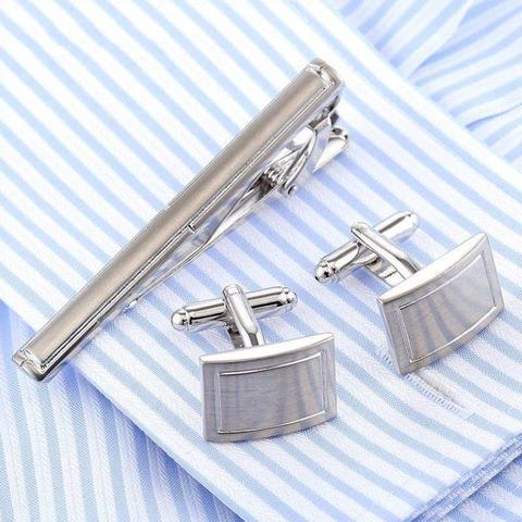 Manžetové knoflíčky se sponou na kravatu traditional - 1