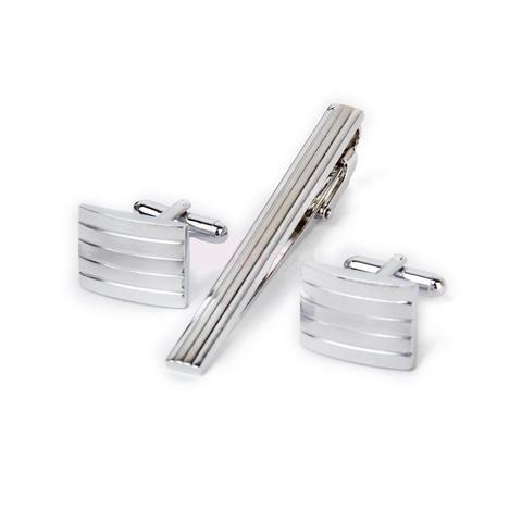 Ocelové manžetové knoflíčky s kravatovou sponou Illinois