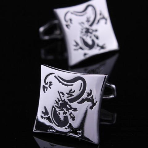 Manžetové knoflíčky drak silver - 1