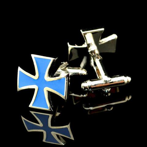 Manžetové knoflíčky světle modrý kříž