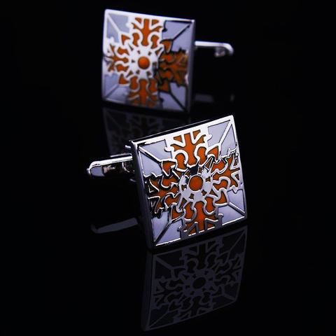 Manžetové knoflíčky oranžový květ - 1