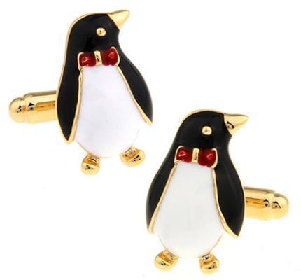Manžetové knoflíčky tučňák s motýlkem - 1