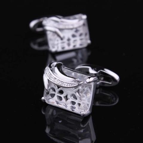 Manžetové knoflíčky průhledný krystal - 1