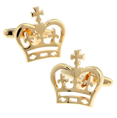 Manžetové knoflíčky s motivem královské koruny zlatá - 1