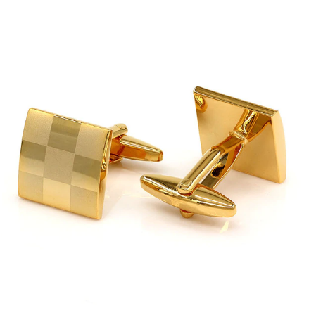 Manžetové knoflíčky šachovnice gold - 1