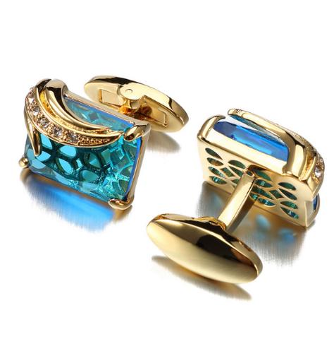 Manžetové knoflíčky světle modrý krystal - 1