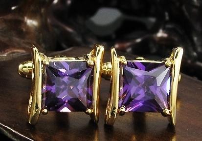 Manžetové knoflíčky zlatá barva s fialovým crystalem