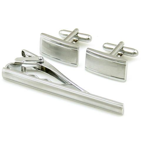 Manžetové knoflíčky obdélníkové s kravatovou sponou