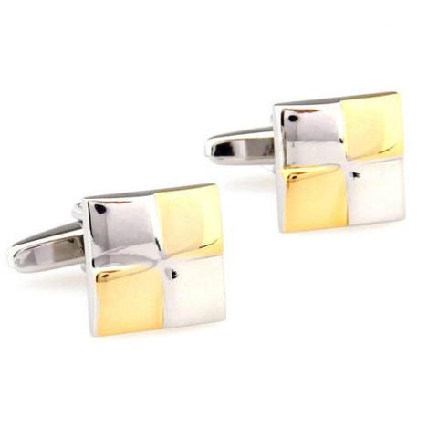 Manžetové knoflíčky zlato-bíle čtverce