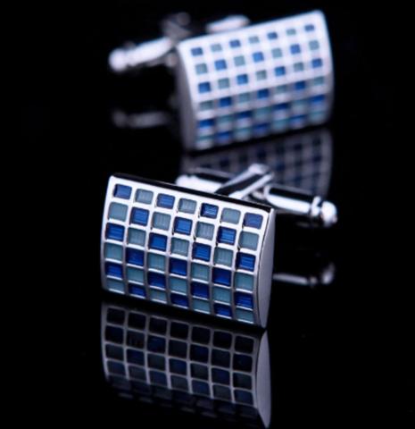 Manžetové knoflíčky modrá mozaika - 2
