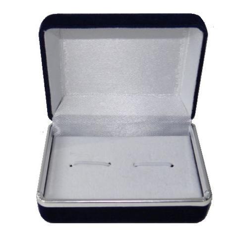 Krabička na manžetové knoflíčky - tmavě modrá semiš - 2