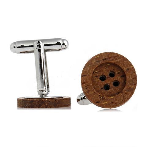 Manžetové knoflíčky dřevěný knoflík - 2