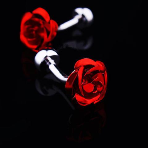 Manžetové knoflíčky rudá růžička - 2