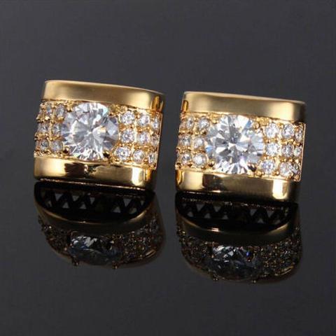Manžetové knoflíčky luxusní zirkon zlatý - 2