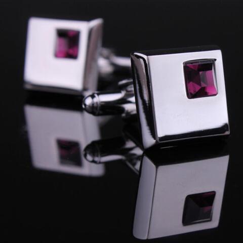 Manžetové knoflíčky - tmavě fialový krystal - 2