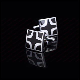 Manžetové knoflíčky bludiště černý kříž - 2