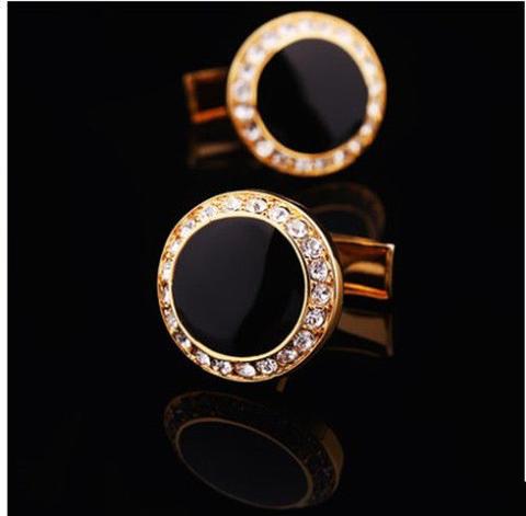 Manžetové knoflíčky kulatý černý krystal s kamínky - 2