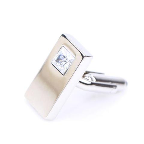Manžetové knoflíčky -  obdelnik bílý kamínek - 2
