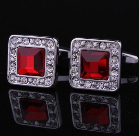 Manžetové knoflíčky rudý krystal - 2