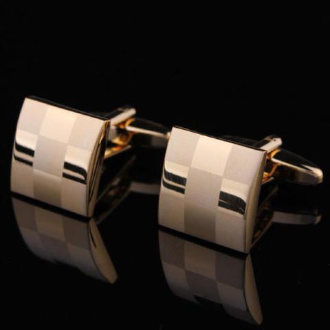 Manžetové knoflíčky šachovnice gold - 2