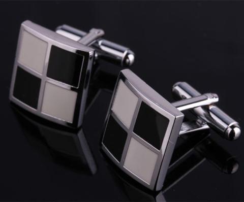 Manžetové knoflíčky bílo-černá mozaika - 2