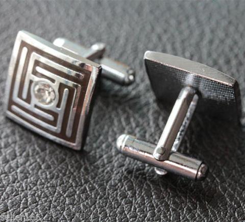 Manžetové knoflíčky čtvercové s krystalkem - 2