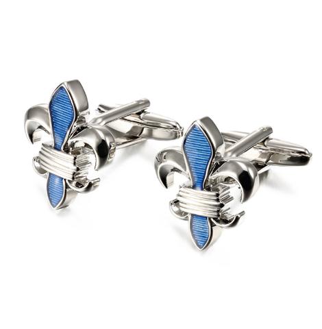 Manžetové knoflíčky Lepton Blue Fleur De Lis - 2