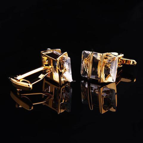 Manžetové knoflíčky Gemstone zlato-bílé - 2