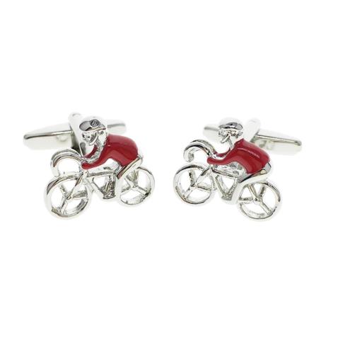 Manžetové knoflíčky červený cyklista - 2