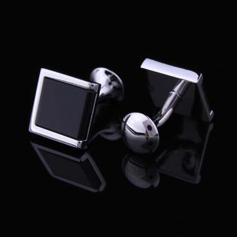 Manžetové knoflíčky s černým vsazeným čtvercem - 2