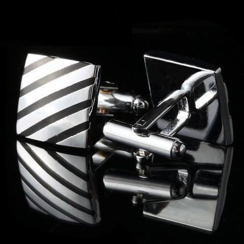 Manžetové knoflíčky čtverec s černým pruhe - 2