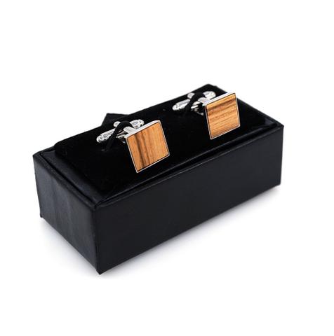Manžetové knoflíčky dřevěný čtvereček - 2