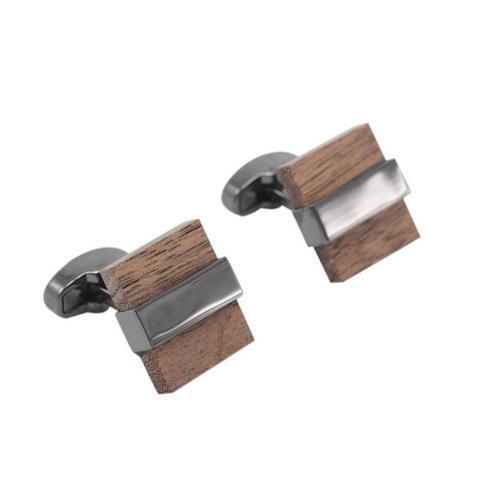 Manžetové knoflíčky dřevo čtvereček - 2