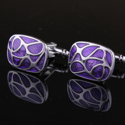 Manžetové knoflíčky fialová mozaika - 2