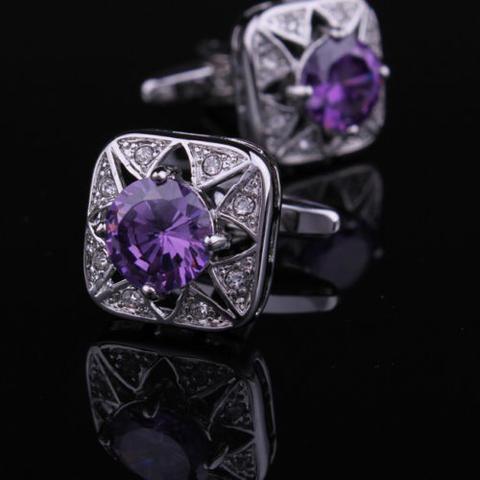 Manžetové knoflíčky fialový kámen - 2