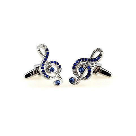 Manžetové knoflíčky houslový klíč modré kamínky - 2