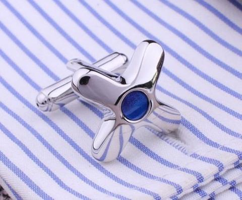 Manžetové knoflíčky hvězdice s modrým okem - 2