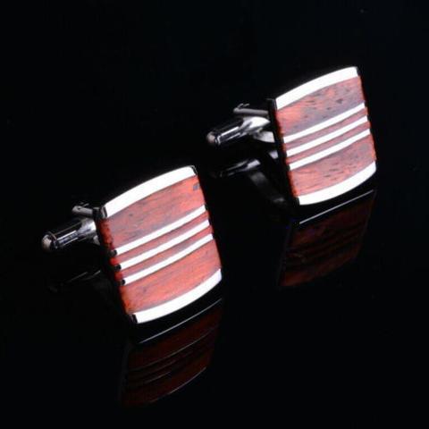 Manžetové knoflíčky dřevo-ocel - 2