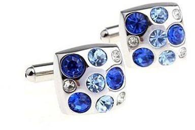 Manžetové knoflíčky s modrými kameny - 2